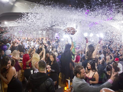Confetti showers the dance floor during a DJ change at the   Hyde nightclub in the Bellagio in Las Vegas, a popular destination for divorce parties.