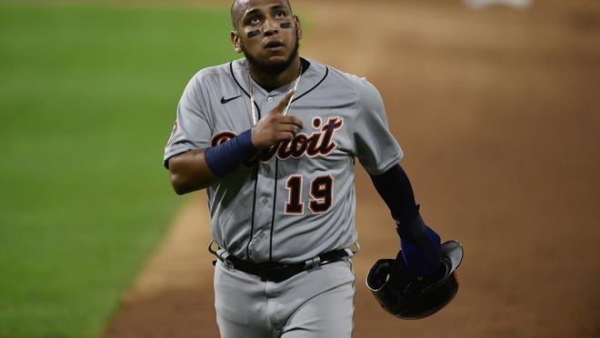 Detroit Tigers' Isaac Paredes celebrates after hitting a 2 RBI single during the fourth inning of a baseball game against the Chicago White Sox Monday, Aug. 17, 2020, in Chicago.