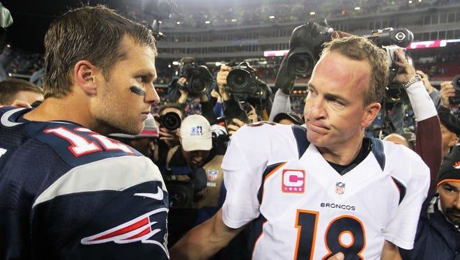 New England Patriots quarterback Tom Brady (12) shakes hands with Denver Broncos quarterback Peyton Manning (18) following the Patriots' home win on Oct. 7, 2012.