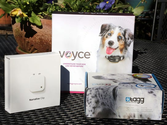 Three pet tech devices, from left: the Narrative Clip,
