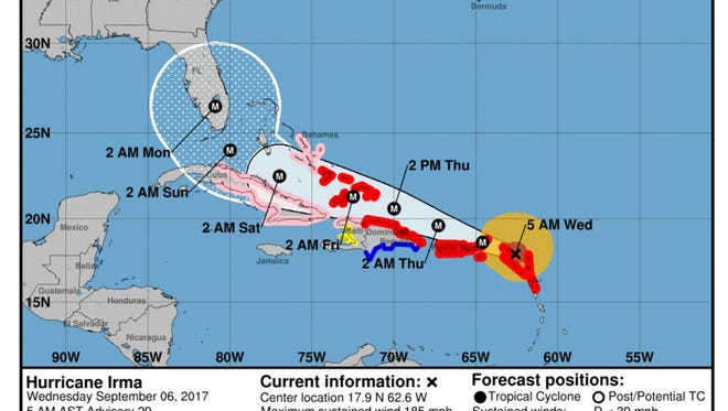 The National Hurricane Center's projected path for Hurricane Irma on Wednesday, Sept. 6, 2017.
