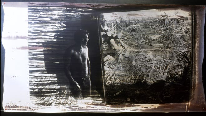 An example of Rene Miville's photo art using his images from Hurricane Andrew's aftermath.