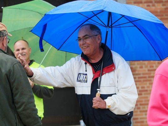 State Rep. Jack Lutz, R-Anderson, talks to voters