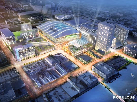 A new arena and plaza anchor a development that encompasses sports, entertainment, residential and office uses. The new arena would be just north of the existing BMO Harris Bradley Center, which would be torn down.