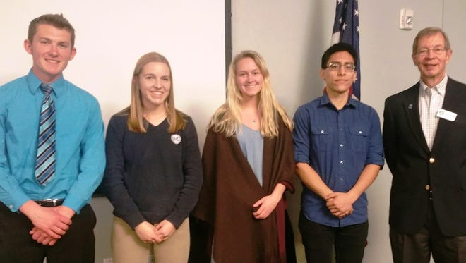 Pictured are Fond du Lac Noon Rotary's April student guests and Rotary members, from left: Luke Schlavensky, Lydia Immel, Maggie Stelmacher, Seigo Medellin and Tom Schuppe, president of the Fond du Lac Noon Rotary.