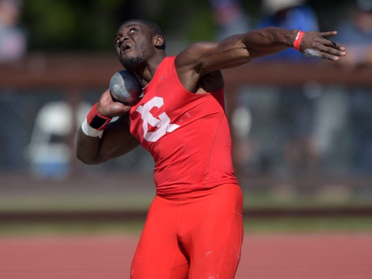Stephen Mozia of Cornell wins the shot put with a toss of 61-6 1/4 (18.75m) in the 2015 Stanford Invitational.