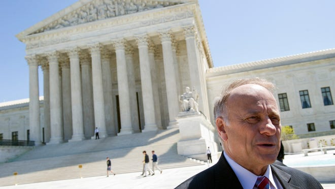 Rep. Steve King, R-Ia., speaks with reporters in front of the Supreme Court on Tuesday.