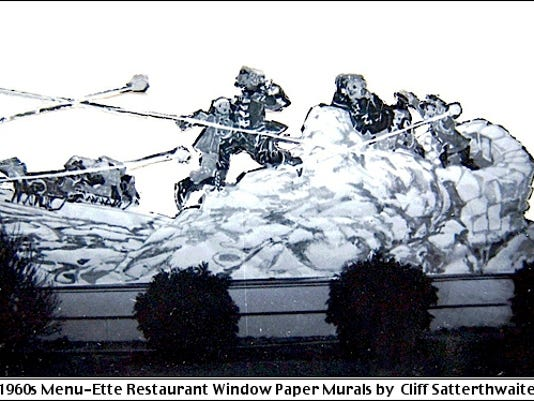 Snowball Battle as a Window Paper Mural at Menu-Ette Restaurant, 3312 East Market Street, Springettsbury Township, York County, PA (1960s Photo submitted by Cliff Satterthwaite)