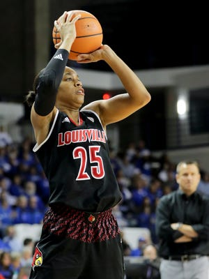 Louisville's Asia Durr knocks down a three against Kentucky.