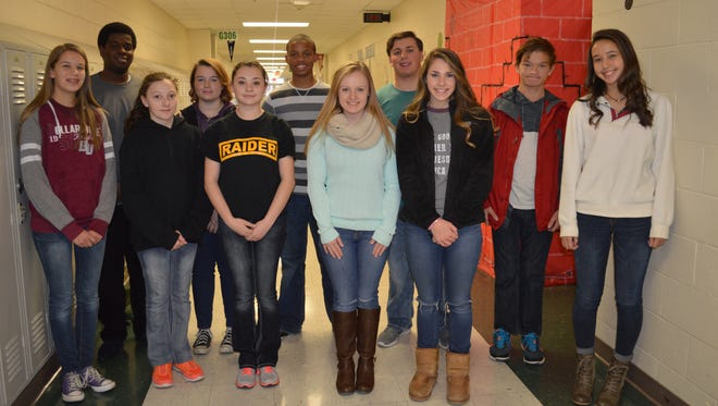 Henderson County November students of the month are, front row from left: Erin O'Nan, McKayla Rone, Sierra Archuleta, Sheridan Forker, Brooke Bugg and Marissa Sauer. Back row: Shedquan Harris, Jacey Newton-Beck, Jeffrey Kidd, Warren Norman and Daniel Phillips. Not pictured: Jaycee Gibson.
