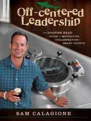 The cover of 'Off-centered Leadership' by Sam Calagione.