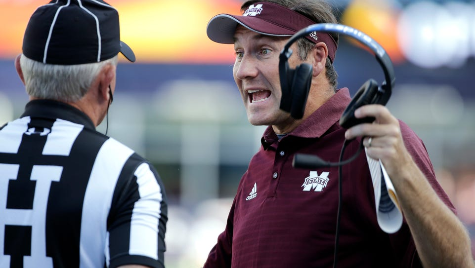 Mississippi State head coach Dan Mullen speaks to the