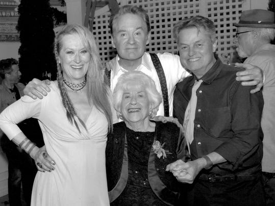 2. Charlotte Rae with Meryl Streep, Kevin Kline and book co-author Larry Str