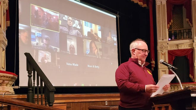 With the public and some board members attending by ZOOM, the Tibbits Opera Foundation and Arts Council President Rick Merrill chaired the annual meeting Thursday evening.