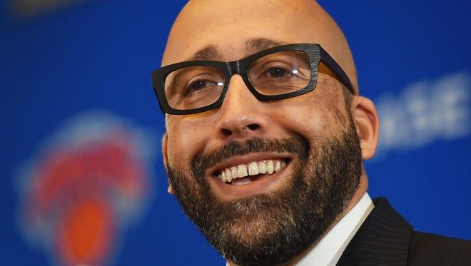 Knicks new head coach David Fizdale talks to reporters during a press conference at Madison Square Garden in New York  on 05/08/18.