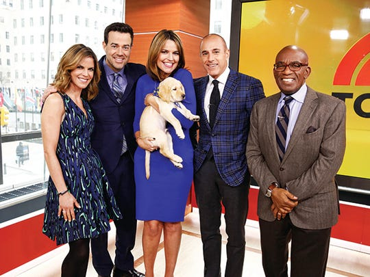 Today squad from left: Natalie Morales, Carson Daly,