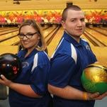 From left, Mahopac bowlers Dominick and Jeanna Brown are this years Westchester/Putnam girls and boys bowlers of the year, they are photographed at Jefferson Valley Lanes March 28, 2014.