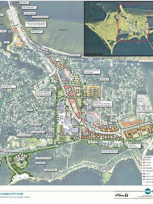 A rendering shows the redevelopment project Gulf Breeze plans for its town center. The city has asked for $15.8 million in Triumph funds to go toward the $21 million project.