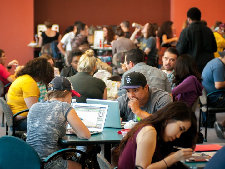 Students pack the Corbett Center Student Union during