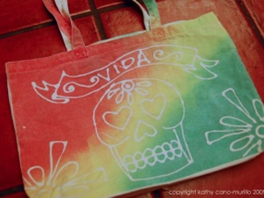 Day of the Dead decorated cloth tote bag