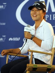 Current world number one women's golfer Lydia Ko answers questions from the media on Tuesday, March 29, 2016, two days before the ANA Inspiration gets underway at Mission Hills Country Club in Rancho Mirage, Calif.