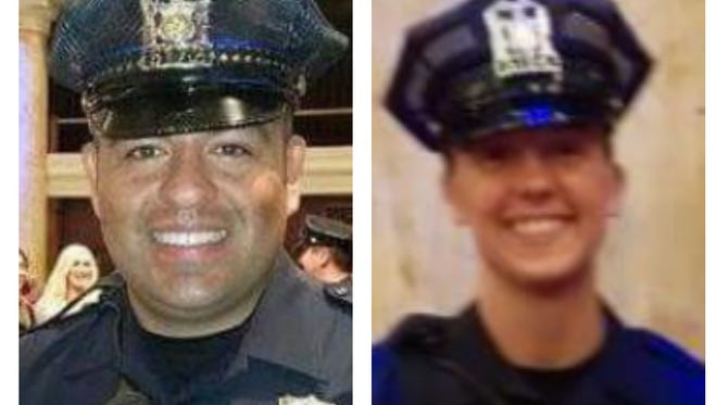 Carlos Puente-Morales (left) and Susan Farrell were both killed in a crash on March 26, 2015. Both had recently joined the Des Moines police force.