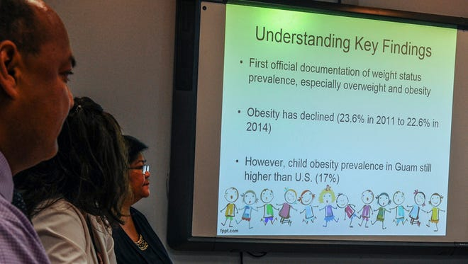 """The findings of the """"Overweight and Obesity Prevalence Rate Among Public School Children in Guam"""" study is displayed during a presentation at the Guam Department of Educaton in Tiyan on June 8."""