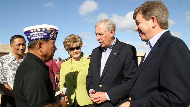 Former House Majority Leader Steny Hoyer, D-Maryland, second from right, speaks to Commander Jack Shimizu of the Asia Pacific Department Military Order of the Purple Heart after a wreath laying at the Asan Bay Overlook in January 2008. At right is then House Minority Whip Roy Blunt, R-Missouri, with Guam Delegate Madeleine Bordallo, center, and former Lt. Gov. Mike Cruz, far left. Shimizu died June 5.