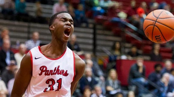 North Central's Kris Wilkes gets hyped during the Panthers' win over Lawrence Central on Tuesday.