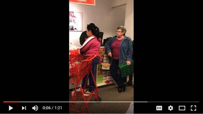 Screen grab from a YouTube video that caught a racist rant at Jefferson Mall.