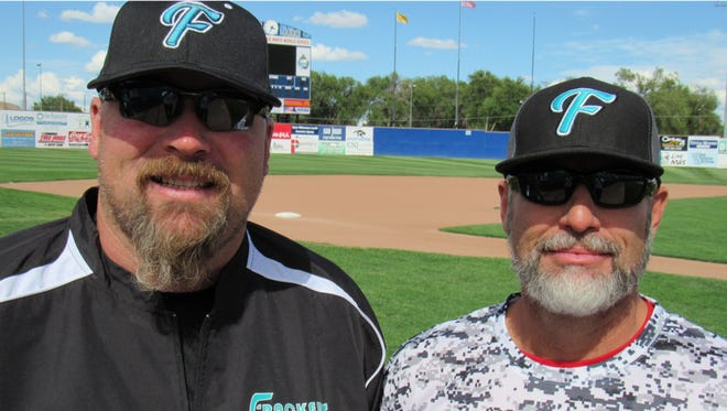 Mike McGaha, right, and Sean Trotter will lead the Farmington Frackers in the 2019 season. McGaha will be the head coach, and Trotter will be the assistant coach. Both spent the previous nine seasons at Piedra Vista High and Farmington High, respectively.
