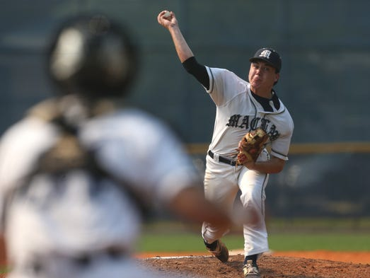 Maclay's JD Gardner pitches against NFC during their