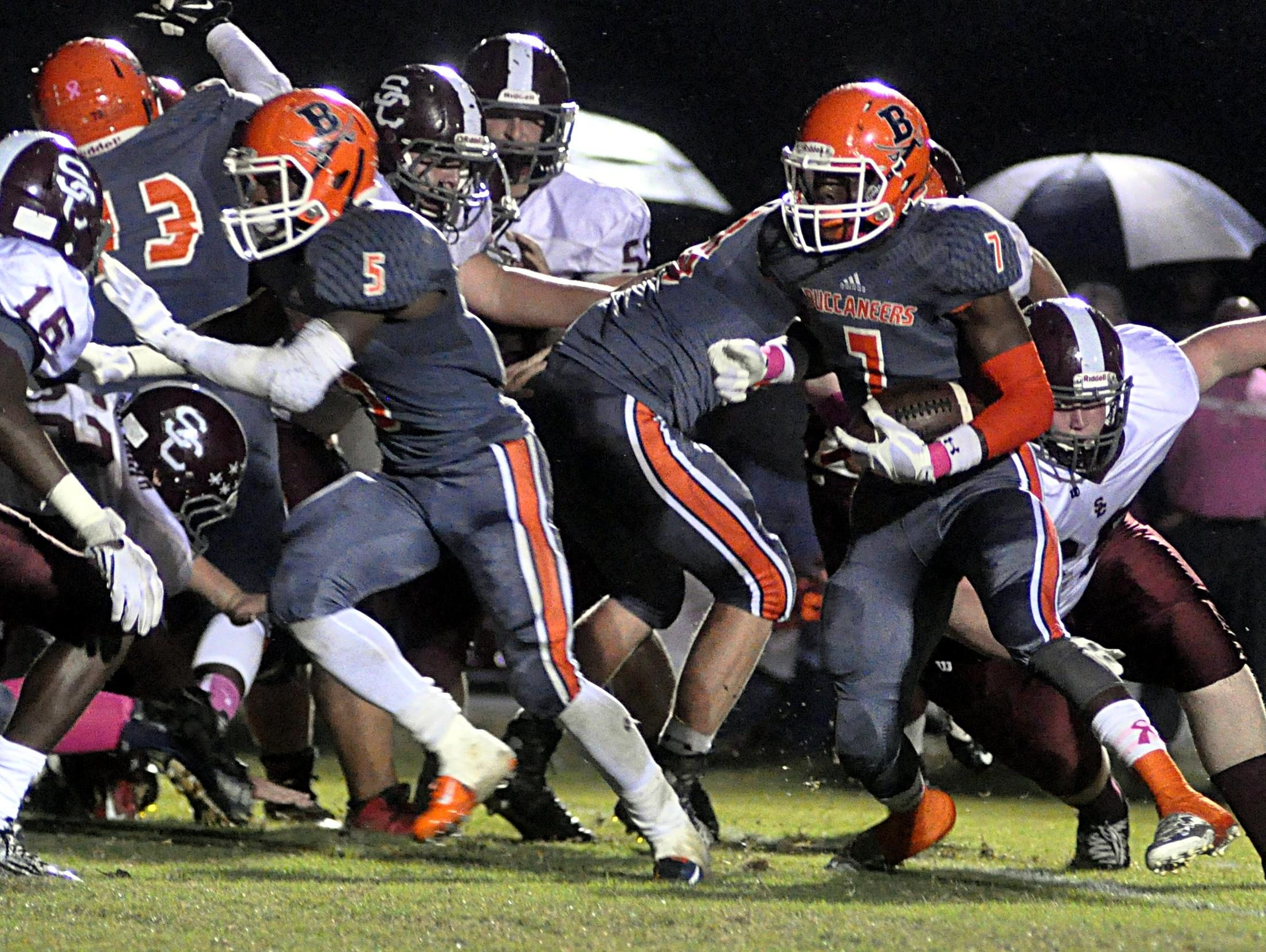 Beech High senior Auston Vanzant (7) carries the ball during a second-quarter touchdown during Friday evening's 41-14 victory over Station Camp.