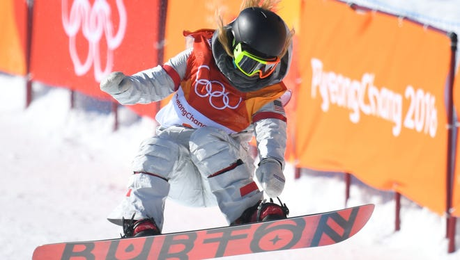 Chloe Kim (USA) competes in the halfpipe event during the Pyeongchang 2018 Olympic Winter Games at Phoenix Snow Park.