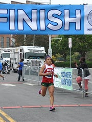 3-peat women's marathon winner Blanco Lucero, 40, of New York City. Photo from September 16, 2017.