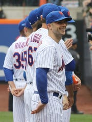 David Wright lines up to be introduced as part of the Opening Day ceremonies.