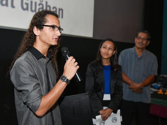 University of Guam student Trevor Boykin speaks before