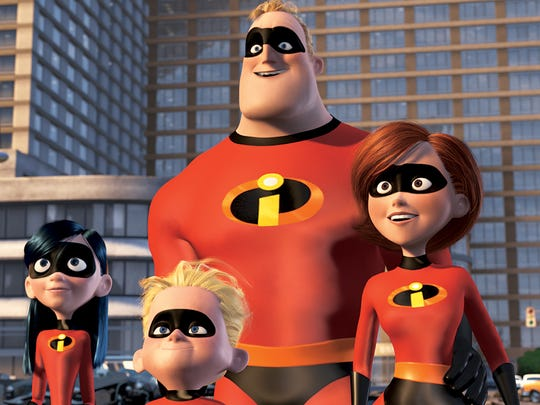 "Left to right, Violet Parr, Dashiel ""Dash"" Parr, Mr. Incredible, and Elasticgirl, in Walt Disney Pictures/Pixar Animation Studios' ""The Incredibles."""