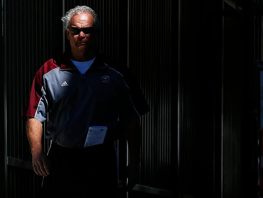 Missouri State Bears head coach Dave Steckel walks