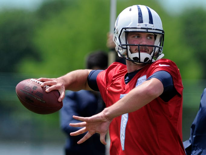 Quarterback Zach Mettenberger (7) throws a pass during Titans rookie mini camp on Friday May 16, 2014.