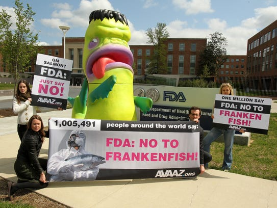 """A giant """"Frankenfish"""" sculpture installed by Avaaz"""