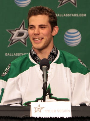 Tyler Seguin is introduced by the Dallas Stars after they acquired him in July.