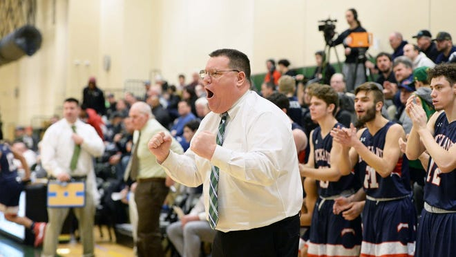 Rockland's head basketball coach Fred Damon, during their game versus Abington, at the Shawn P. Cotter Invitational Tournament in Abington, on Wednesday, Feb. 19, 2020.