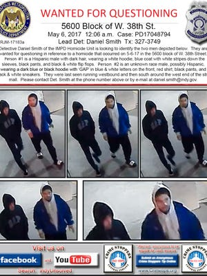Indianapolis Metropolitan Police released these photos Friday of two men detectives would like to speak to regarding the May 6, 2017 shooting of three Warren Central High School students.