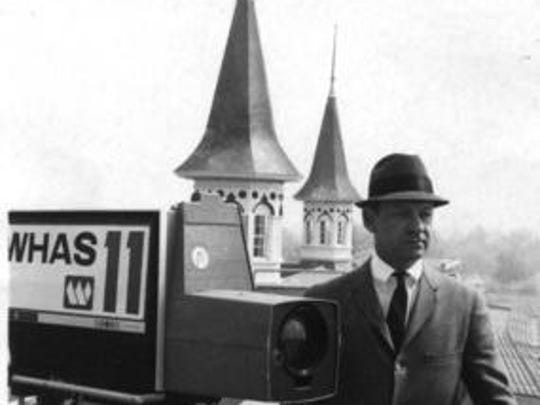 The late Cawood Ledford atop the roof of Churchill Downs in a 1967 file photo.