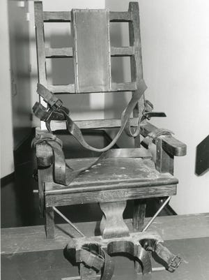 Historic photo of the electric chair at Windsor State Prison.