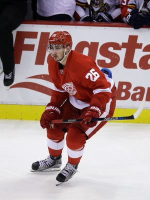 Detroit Red Wings right wing Tomas Jurco skates against the Florida Panthers on Nov. 29, 2015, in Detroit.