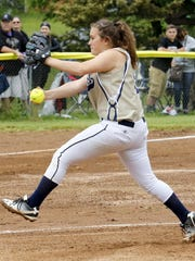 Izzy Milazzo delivers a pitch for Elmira Notre Dame on her way to a four-hitter in an 11-1 win over Union Springs in the Section 4 Class C softball final Saturday at the BAGSAI Complex.