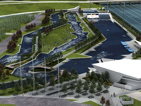 A rendering of Riversport Rapids, a whitewater kayaking and rafting center that will open in downtown Oklahoma City. (Photo courtesy Boathouse District/TNS)
