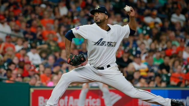 Veteran pitcher Francisco Liriano, shown in this file photo as pitching for the Houston Astros, has been reportedly signed to the Detroit Tigers on a one-year deal.